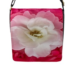 White Rose With Pink Leaves Around  Flap Closure Messenger Bag (large) by dflcprints