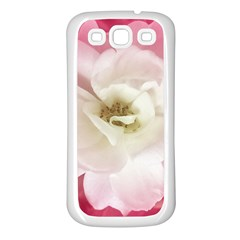 White Rose With Pink Leaves Around  Samsung Galaxy S3 Back Case (white) by dflcprints