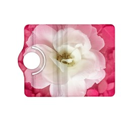 White Rose With Pink Leaves Around  Kindle Fire Hd (2013) Flip 360 Case by dflcprints