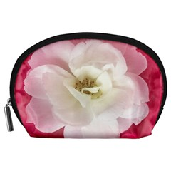 White Rose With Pink Leaves Around  Accessory Pouch (large) by dflcprints