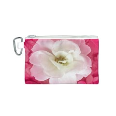 White Rose With Pink Leaves Around  Canvas Cosmetic Bag (small) by dflcprints