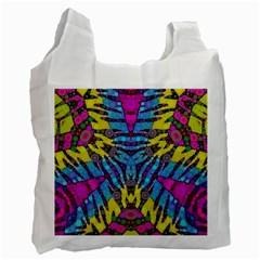 Crazy Zebra Print  White Reusable Bag (one Side) by OCDesignss