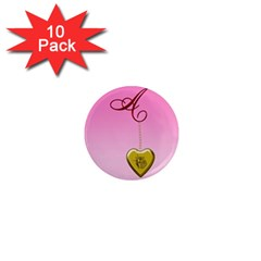 A Golden Rose Heart Locket 1  Mini Magnet (10 Pack)