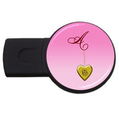 A Golden Rose Heart Locket Usb Flash Drive Round (2 Gb) by cherestreasures