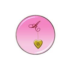 A Golden Rose Heart Locket Hat Clip Ball Marker (10 Pack) by cherestreasures