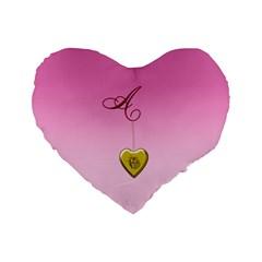 A Golden Rose Heart Locket 16  Premium Flano Heart Shape Cushion  by cherestreasures