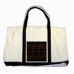 Dark Geometric Abstract Pattern Two Toned Tote Bag