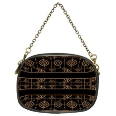 Dark Geometric Abstract Pattern Chain Purse (Two Sided)  by dflcprints