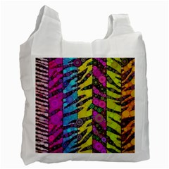 Crazy Animal Print Abstract  White Reusable Bag (one Side) by OCDesignss