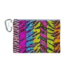 Crazy Animal Print Abstract  Canvas Cosmetic Bag (medium)