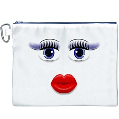 Face with Blue Eyes Canvas Cosmetic Bag (XXXL) by cherestreasures