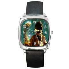 Lost In The Starmaker Square Leather Watch by icarusismartdesigns