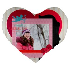 Love By Ki Ki   Large 19  Premium Flano Heart Shape Cushion   W3dvul1cul26   Www Artscow Com Front