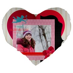 Love By Ki Ki   Large 19  Premium Flano Heart Shape Cushion   W3dvul1cul26   Www Artscow Com Back