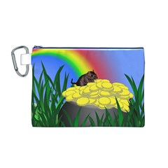 Pot Of Gold With Gerbil Canvas Cosmetic Bag (Medium) by designedwithtlc
