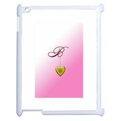 B Golden Rose Heart Locket Apple Ipad 2 Case (white) by cherestreasures