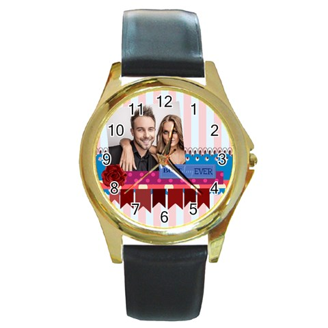 Love By Love   Round Gold Metal Watch   5sypepoca91d   Www Artscow Com Front