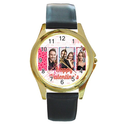 Love By Love   Round Gold Metal Watch   62m08ahf1hdu   Www Artscow Com Front