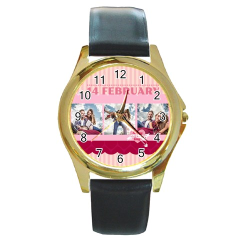 Love By Love   Round Gold Metal Watch   Gfdwxck7s217   Www Artscow Com Front