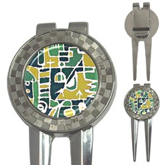 Colorful Tribal Abstract Pattern Golf Pitchfork & Ball Marker by dflcprints