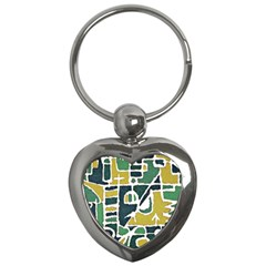 Colorful Tribal Abstract Pattern Key Chain (heart) by dflcprints