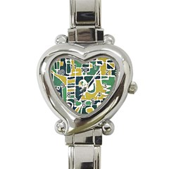 Colorful Tribal Abstract Pattern Heart Italian Charm Watch  by dflcprints