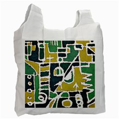 Colorful Tribal Abstract Pattern White Reusable Bag (two Sides) by dflcprints