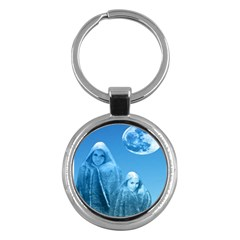 Full Moon Rising Key Chain (round) by icarusismartdesigns