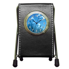 Full Moon Rising Stationery Holder Clock by icarusismartdesigns