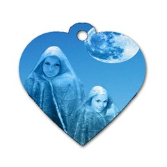 Full Moon Rising Dog Tag Heart (two Sided) by icarusismartdesigns