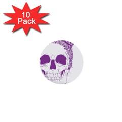 Purple Skull Bun Up 1  Mini Button (10 Pack) by vividaudacity