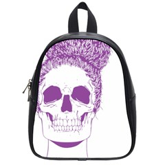 Purple Skull Bun Up School Bag (small) by vividaudacity