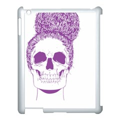 Purple Skull Bun Up Apple Ipad 3/4 Case (white) by vividaudacity