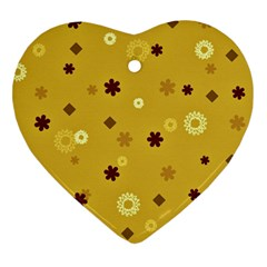 Abstract Geometric Shapes Design In Warm Tones Heart Ornament (two Sides) by dflcprints