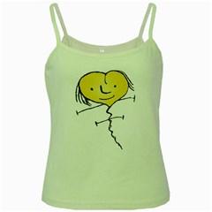 Happy Heart Flying Raster Illustration02 Green Spaghetti Tank by dflcprints