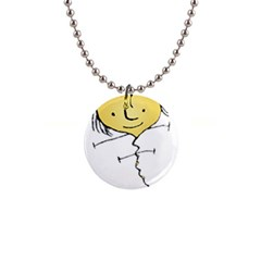 Happy Heart Flying Raster Illustration02 Button Necklace by dflcprints