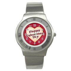 Heart Shaped Happy Valentine Day Text Design Stainless Steel Watch (slim) by dflcprints