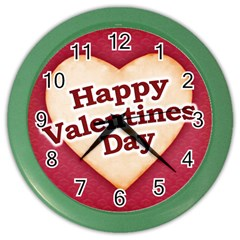 Heart Shaped Happy Valentine Day Text Design Wall Clock (color) by dflcprints