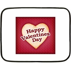 Heart Shaped Happy Valentine Day Text Design Mini Fleece Blanket (two Sided) by dflcprints