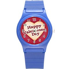 Heart Shaped Happy Valentine Day Text Design Plastic Sport Watch (small) by dflcprints