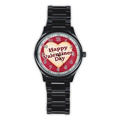 Heart Shaped Happy Valentine Day Text Design Sport Metal Watch (black) by dflcprints