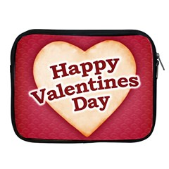 Heart Shaped Happy Valentine Day Text Design Apple Ipad Zippered Sleeve by dflcprints