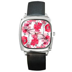 Floral Print Swirls Decorative Design Square Leather Watch by dflcprints