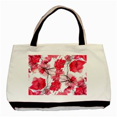 Floral Print Swirls Decorative Design Twin-sided Black Tote Bag by dflcprints
