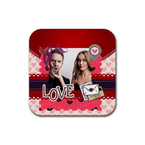 Love By Love   Rubber Square Coaster (4 Pack)   J79bg9dfcicc   Www Artscow Com Front