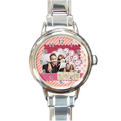 Love By Love   Round Italian Charm Watch   6lw6ztzf60tj   Www Artscow Com Front