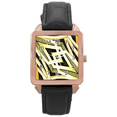 Art Print Tribal Style Pattern Rose Gold Leather Watch  by dflcprints
