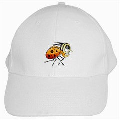 Funny Bug Running Hand Drawn Illustration White Baseball Cap by dflcprints