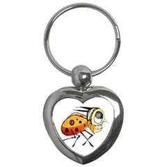 Funny Bug Running Hand Drawn Illustration Key Chain (heart) by dflcprints