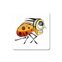 Funny Bug Running Hand Drawn Illustration Magnet (square) by dflcprints